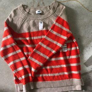 NWT Orange and Tan Sweater